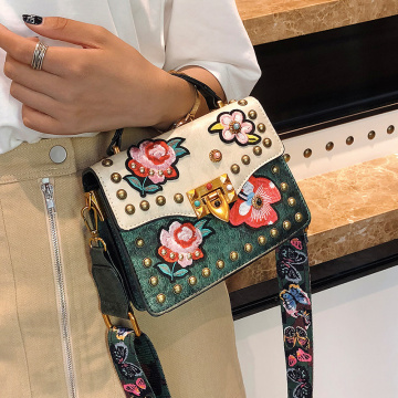 PU Leather Bag Embroidery Patch Girls Handbag