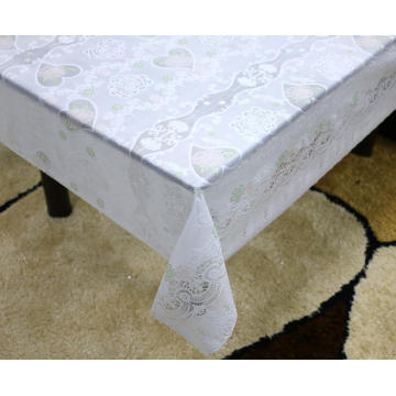 green Printed pvc lace tablecloth by roll