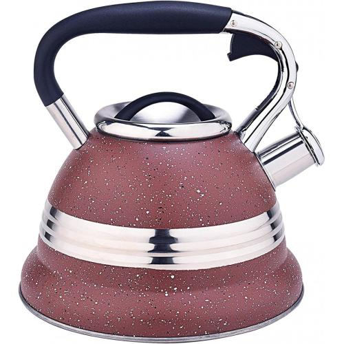 Red with Stainless Steel Design Whistling Tea Kettle