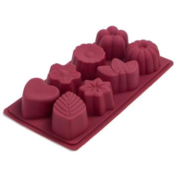 8 cups different flowers shaped fondant silicone mold
