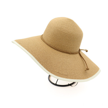Retro large brim beach hat fedora straw hat