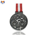 Silver metal bicycle race medal