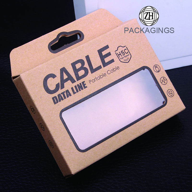 Kraft paper data cable box with pvc window
