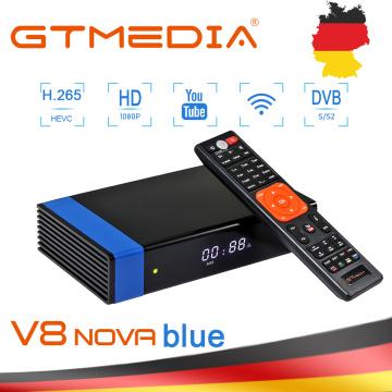 GTMedia V8 Nova Blue Receiver DVB-S/S2 H.265 HEVC Support Full PowerVu DRE Biss key Built-in 2.4G WIFI Youtube Youporn No app TV