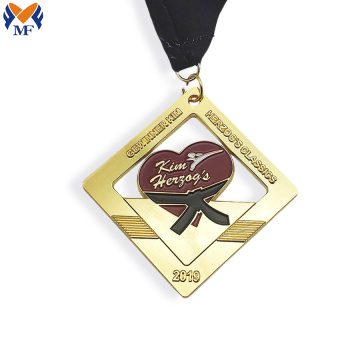 Custom enamel gold plating design your own medal