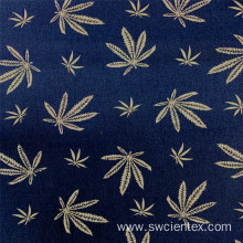Royal Blue Woven Printed Leaves Bengaline Blouse Fabric