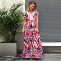 Sexy Woman v-neck Flower Printed maxi Beach Dress