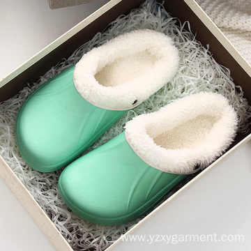 Green comfortable cotton shoes for home