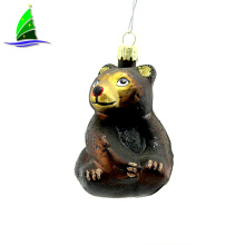 glass a sitting black bear art glass ornament