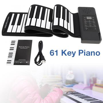 61 Keys MIDI Roll Up Piano Electronic Rechargeable Portable Silicone Flexible Keyboard Organ Built-in Speaker Electronic Organ