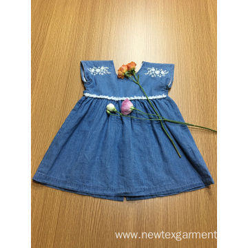 blue denim embroidery lace casual girls dress