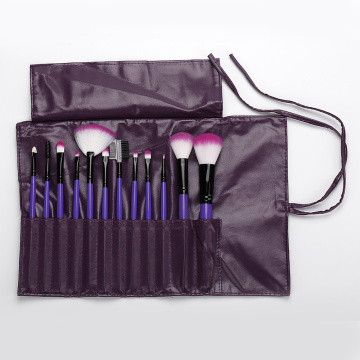 12 pieces purple makeup brush with pu bag