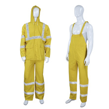 high visibility reflective safety PVC raincoat with pants