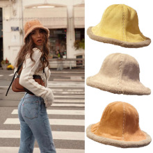 Fashion Autumn Winter Women Faux Fu Bucket Hat Thickened Soft Warm Fishing Cap For Girl Outdoor Vacation Gifts шапка женская