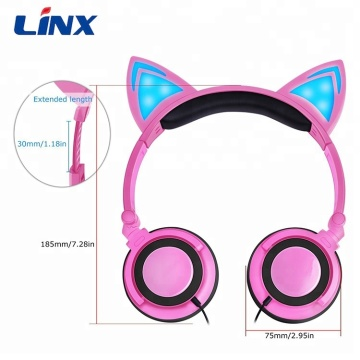 Cuffie colorate Cat Ear all'ingrosso con luce a LED