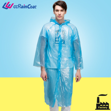 Cheap disposable waterproof hooded plastic PE raincoat