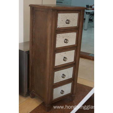5 Drawer Mirrored Antique Painting Tallboy