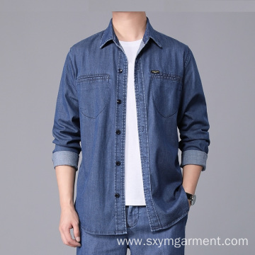 Mens cotton denim long sleeve shirt