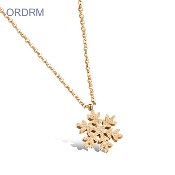 Gold Plated Snowflake Pendant Necklace For Women
