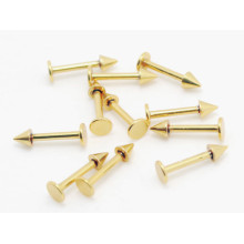 Gold Plated Titanium Labret Stud with Cone