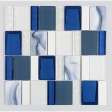 Royal Blue And White Glass Ceramic Mosaic Tiles