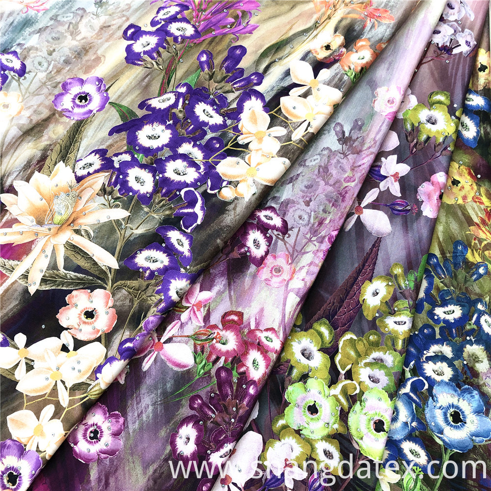 Rayon Satin Digital Print With Stone