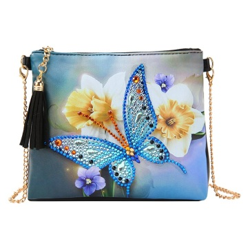 Butterfly Flower Leather Chain Bag Embroidery