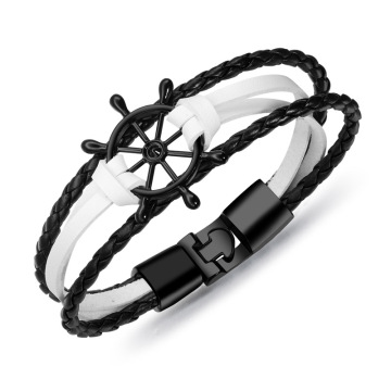 Black and white ladies thin leather charm bracelets