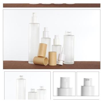 Wood grain cosmetic glass bottles are unpacked