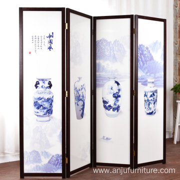 Chinese folding screen folding mobile living room split solid wood screens