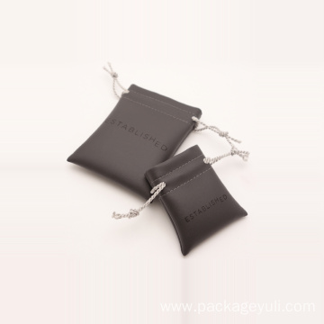 leather pouch with drawstring business card bag