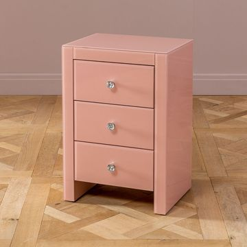 Pink Glass 3 Drawer Bedside Table