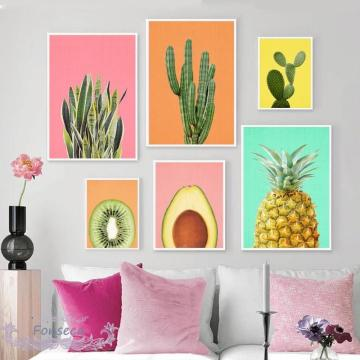 Fresh Fruit Pictures Wall Pineapple Avocado Kiwi Cactus Poster Modern Minimalist Canvas Painting for Living Room Kitchen Decor