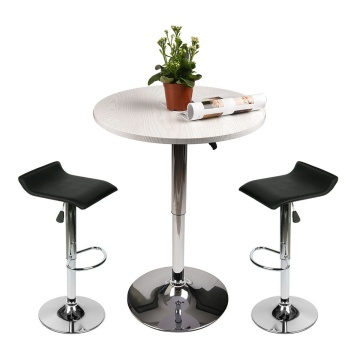3 Piece Pub Stool Bar Table Set Hydraulic Seat Swivel Chairs Round Top Dining US