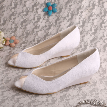 Nude Wedge Wedding Shoes for Bride