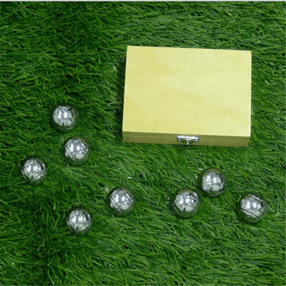 bocce ball with wooden box