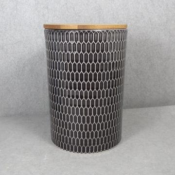 Embossed Ceramic Storage Jar With Bamboo Lid