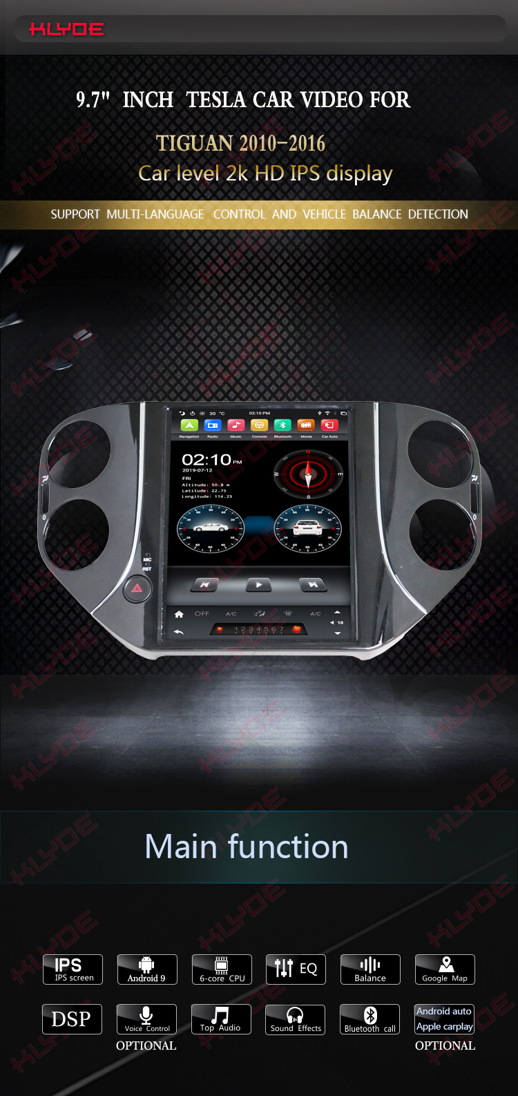 VW Tiguan 2014 android touch screen car radio
