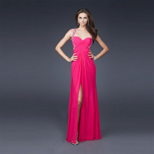 Sweetheart Wide Straps Full-length Chiffon Beading