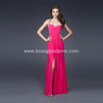 Sexy Front-slit Sheath Column Sweetheart Wide Straps Full-length Chiffon Beading Evening Dress