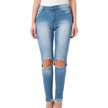 In Stock Plus Size Medium Waist Light Blue Ripped Frayed Jeans Women