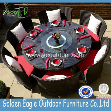Hot Aluminium Woven Rattan Round Table Dinning Set