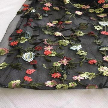 Colorful Tulle Flat Embroidery Fabric with Small Flowers