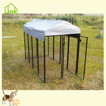 Customizable black mesh dog cage with tarpaulin