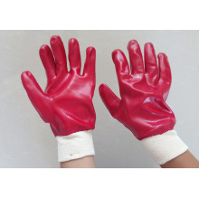 Red PVC gloves smooth finish interlock liner k/w