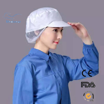 Snood Cap is a peaked cap with hairnet, elasticized edge for total hair cover.