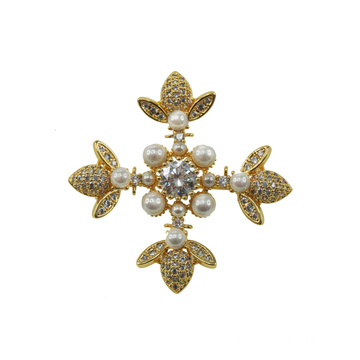 Vintage Style Pearl Cross Gold Plated Brooch
