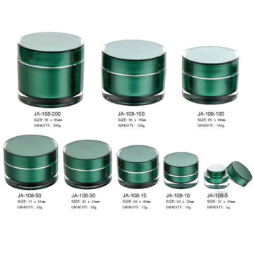 Green Clear Plastic Acrylic Cosmetic Jars