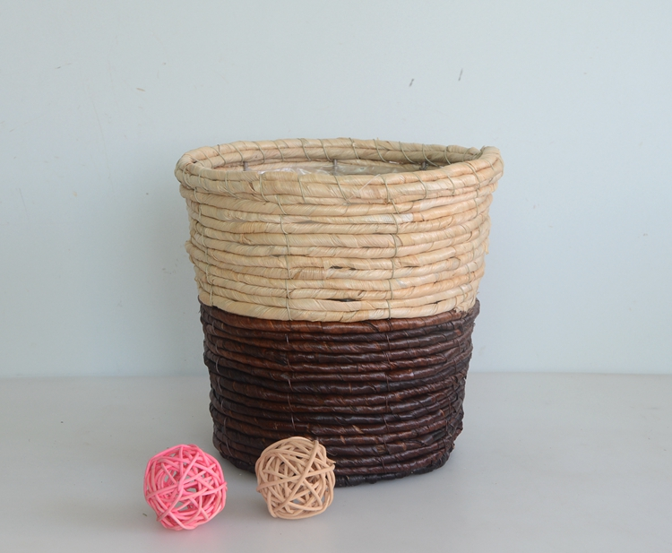 Round two tone maize rope flower basket-2