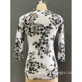 Fashion women's 3/4 printing sleeve blouse